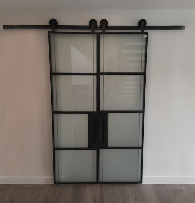 blacken steel and satin glass barn door
