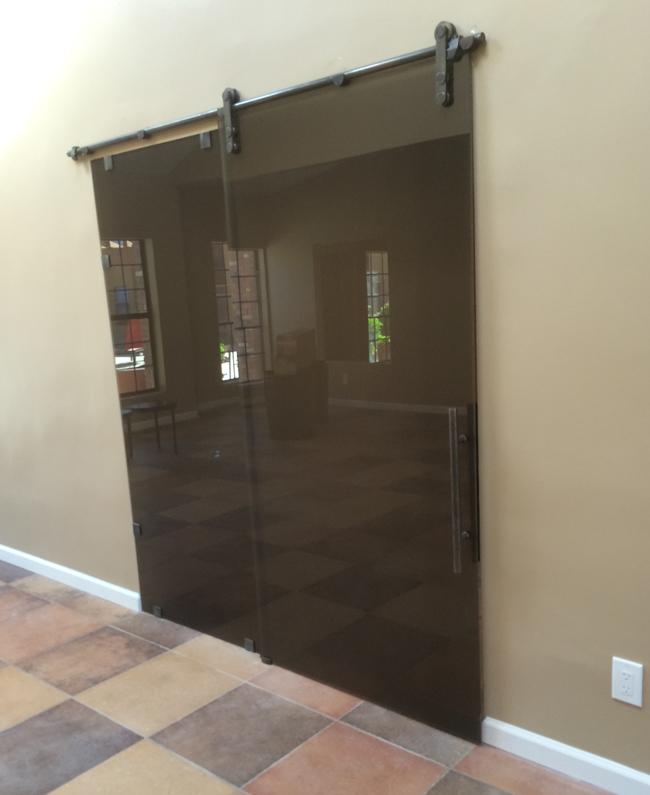 bronze glass barn doors
