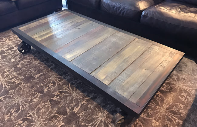 cart coffee table with large casters
