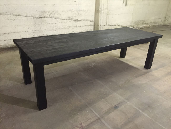 shou sugi ban carred wood table