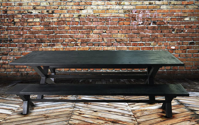 Shou Sugi Ban table and benches