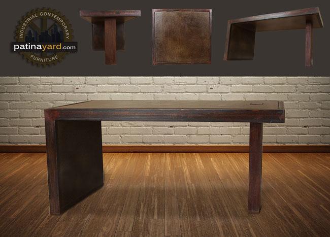 contemporary desk custom made of metal and glass
