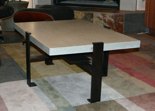 metal and concrete coffee table