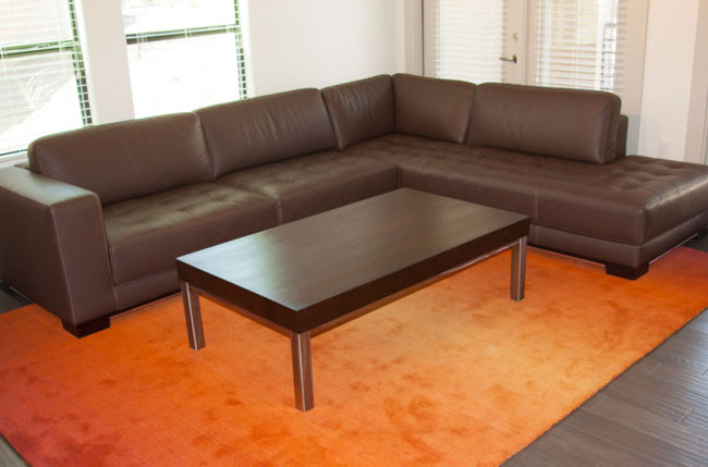 contemporary wenge wood and stainless steel coffee table