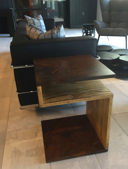 custom end table wood and metal