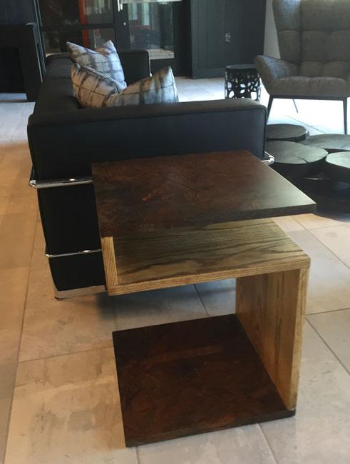 custom end table wood and metal