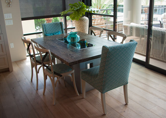 custom wood top table with zinc base