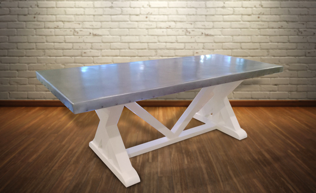 french style zinc table with wood base
