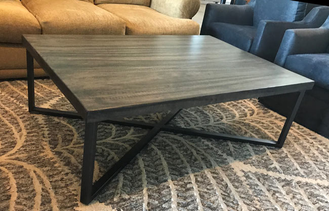 custom x metal base and wood coffee table