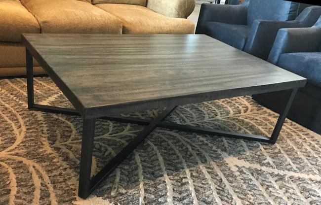 custom x metal base and wood coffee table