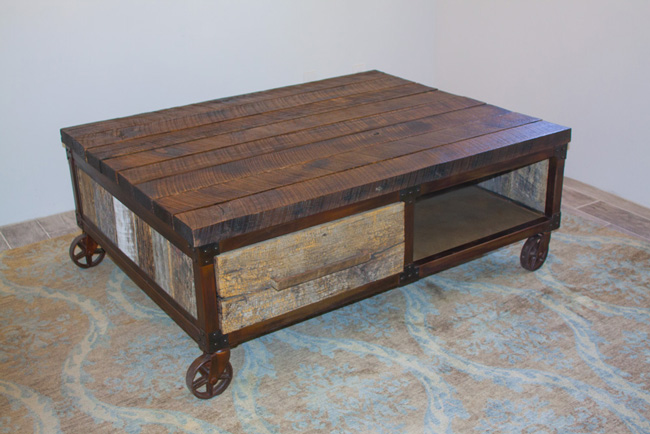 industrial style reclaimed wood and patina metal coffee table