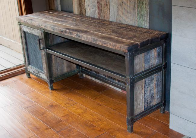 industrial metal wood credenza