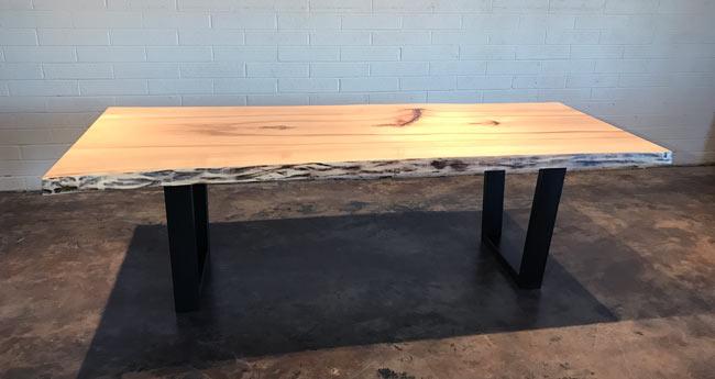 live edge slab table with custom metal base