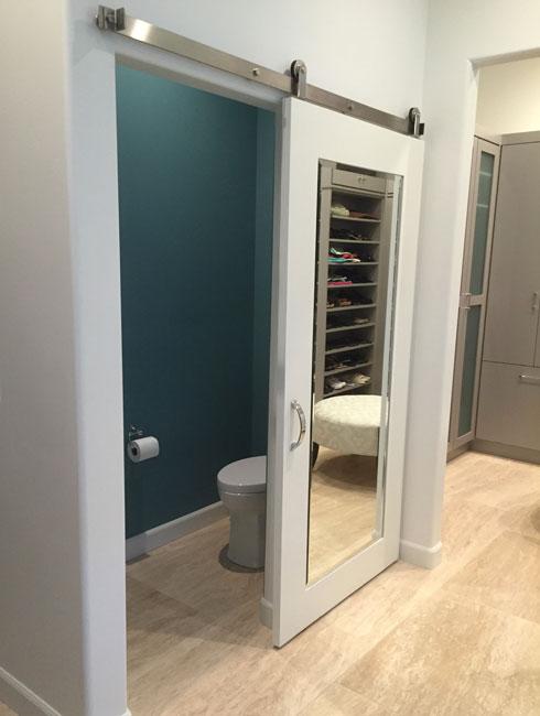 mirror with wood shaker barn door