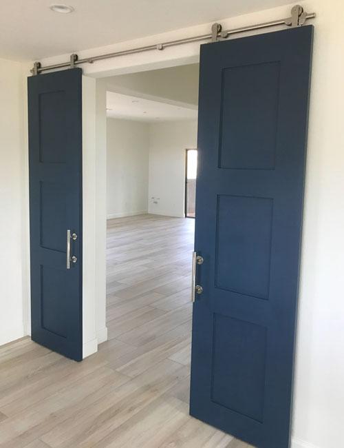 navy blue shaker double barn doors