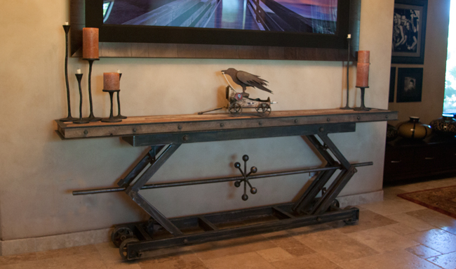 industrial metal and wood sofa table