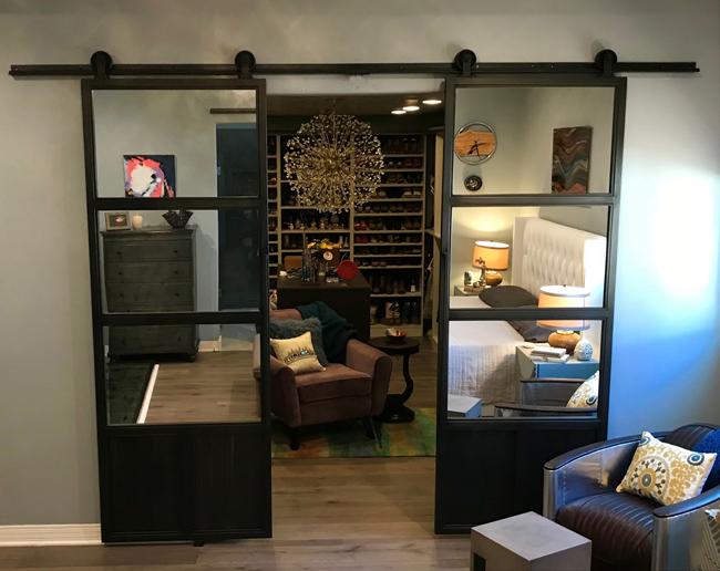steel and mirror barn double doors