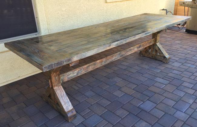 trestal table for outside custom made