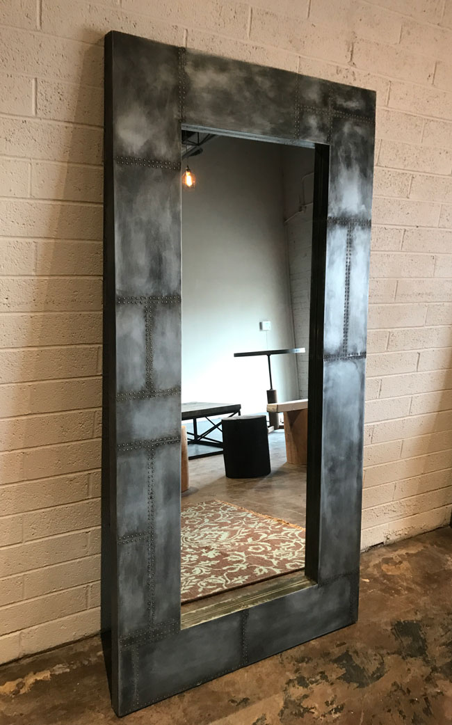 zinc and rivet wall mirror