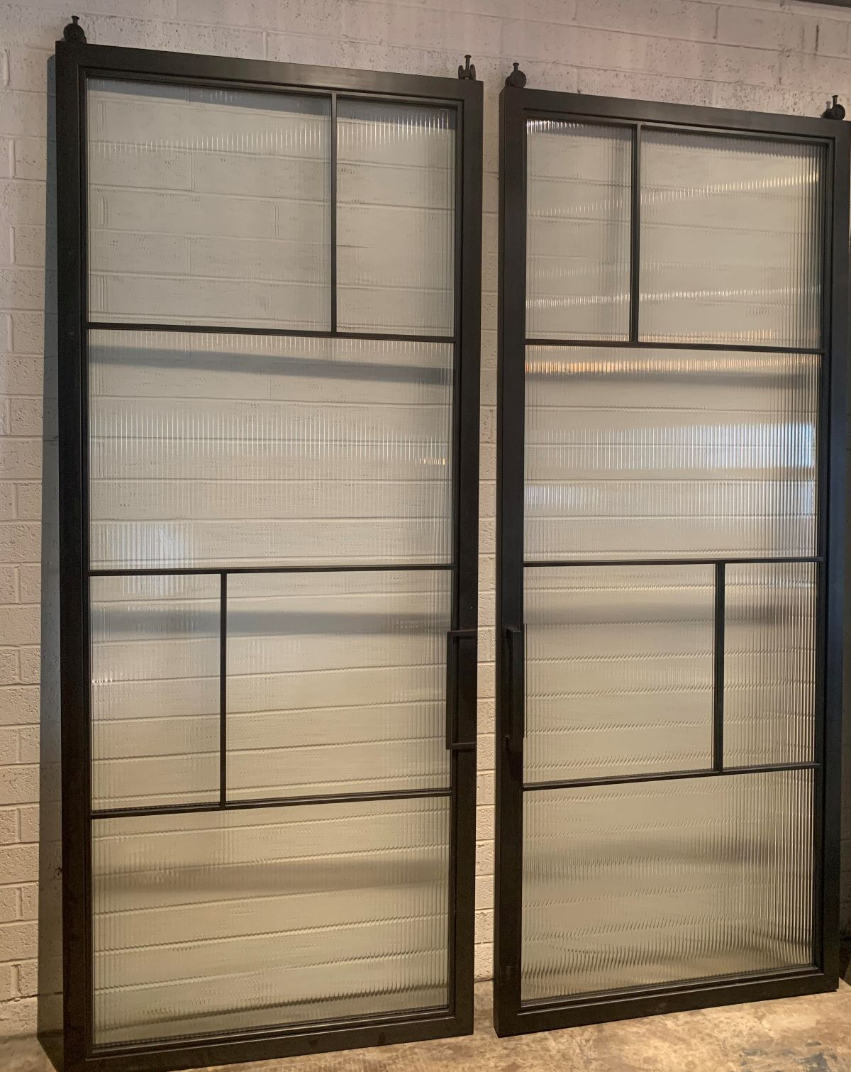 contemporary industrial frames with reeded glass panels
