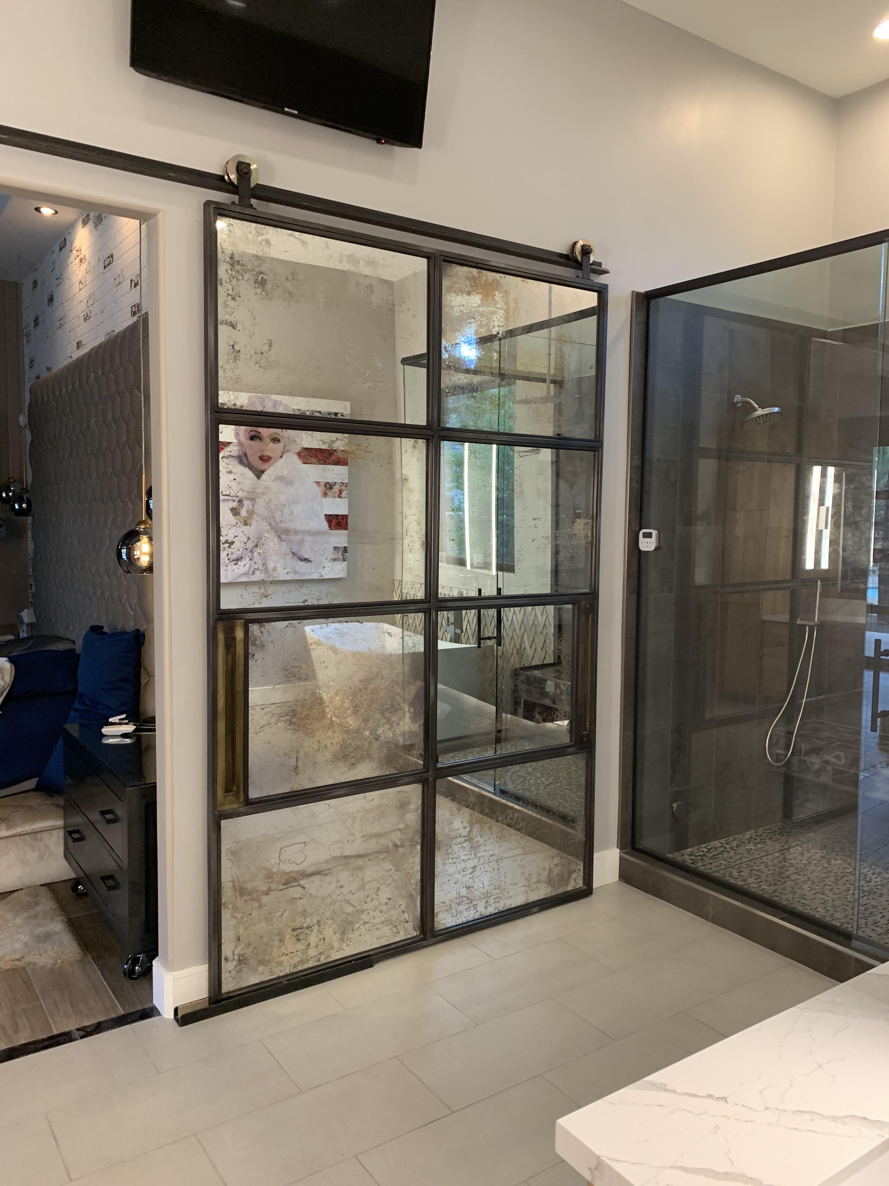 Antique mirrors and metal frame