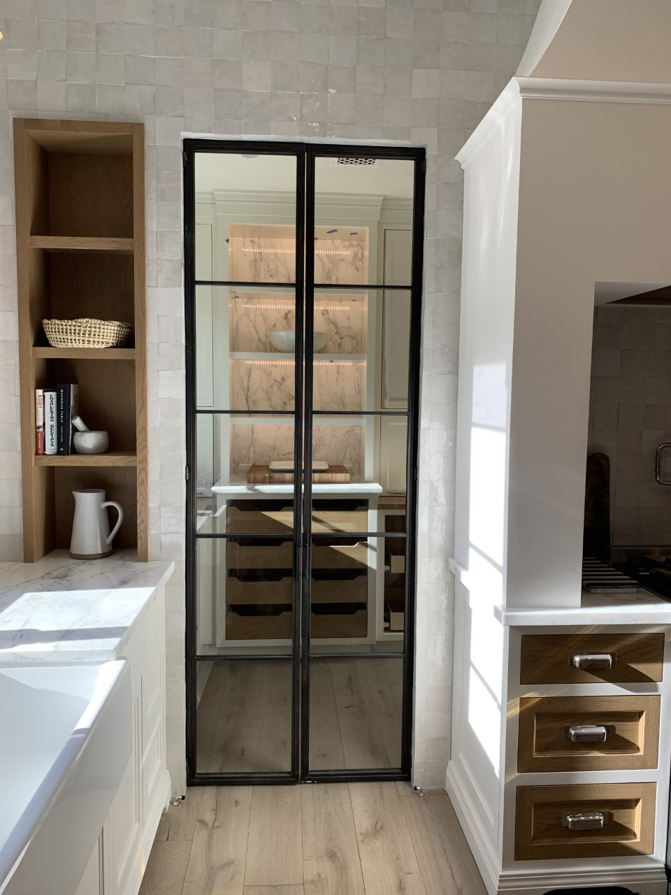 hinged double metal and glass doors