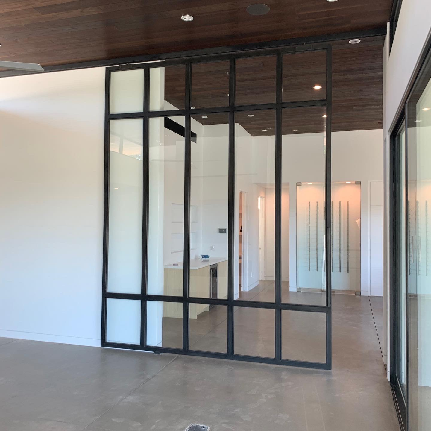 metal and glass room divider sliding wall door