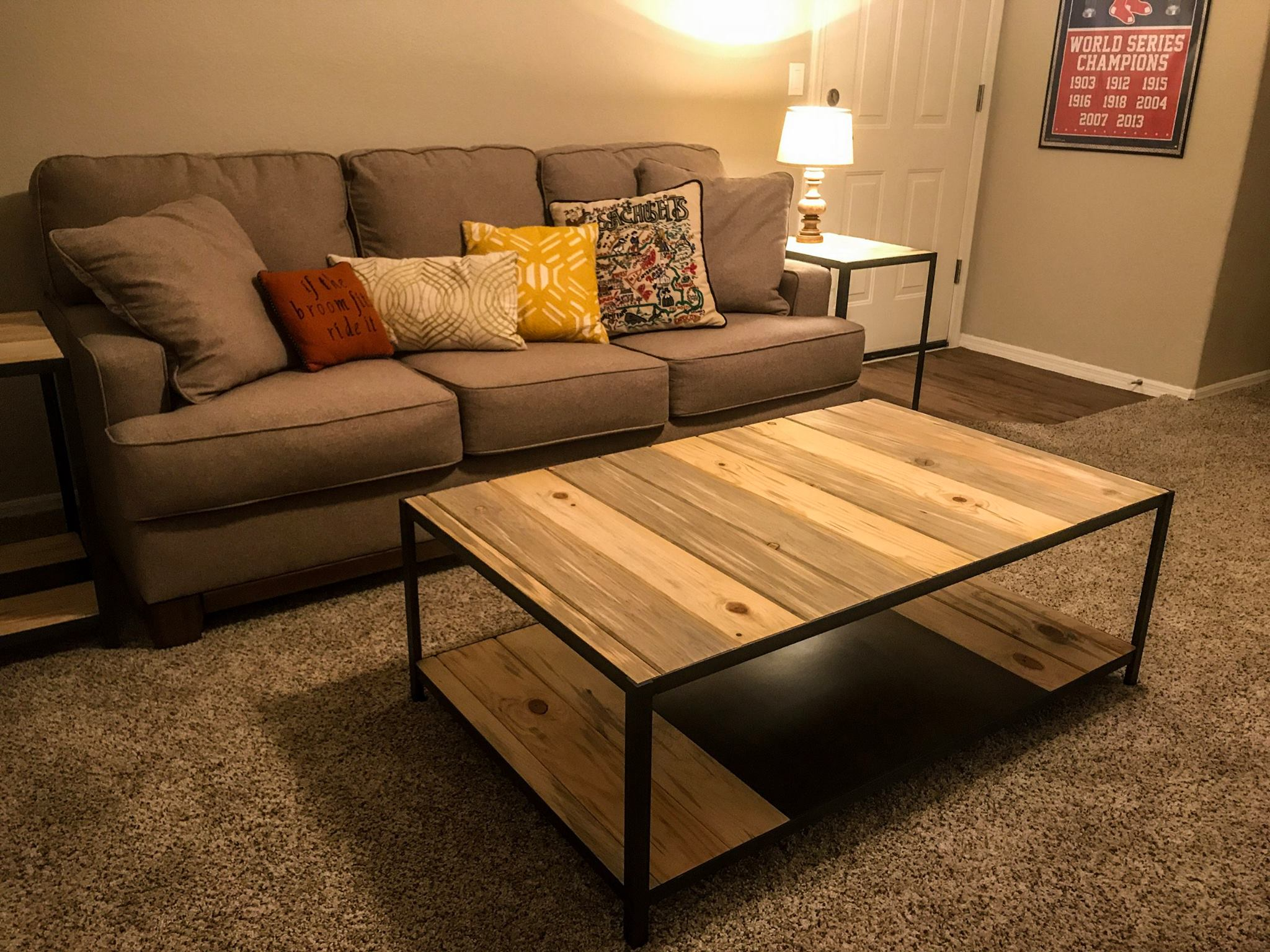 wood and metal coffee table