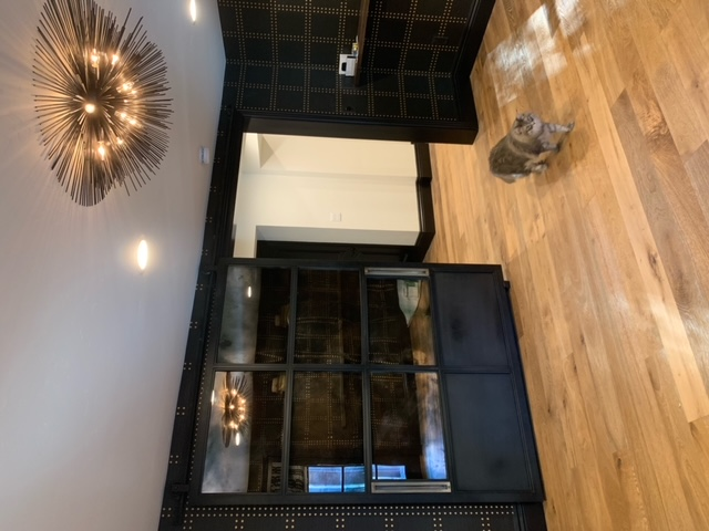 large metal steel barn door with antique mirrors and brass handles