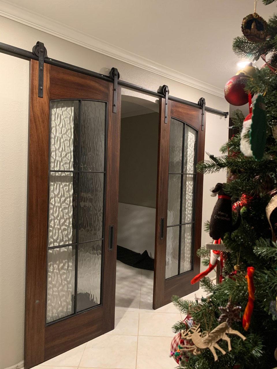 mahogany wood glass and metal barn door