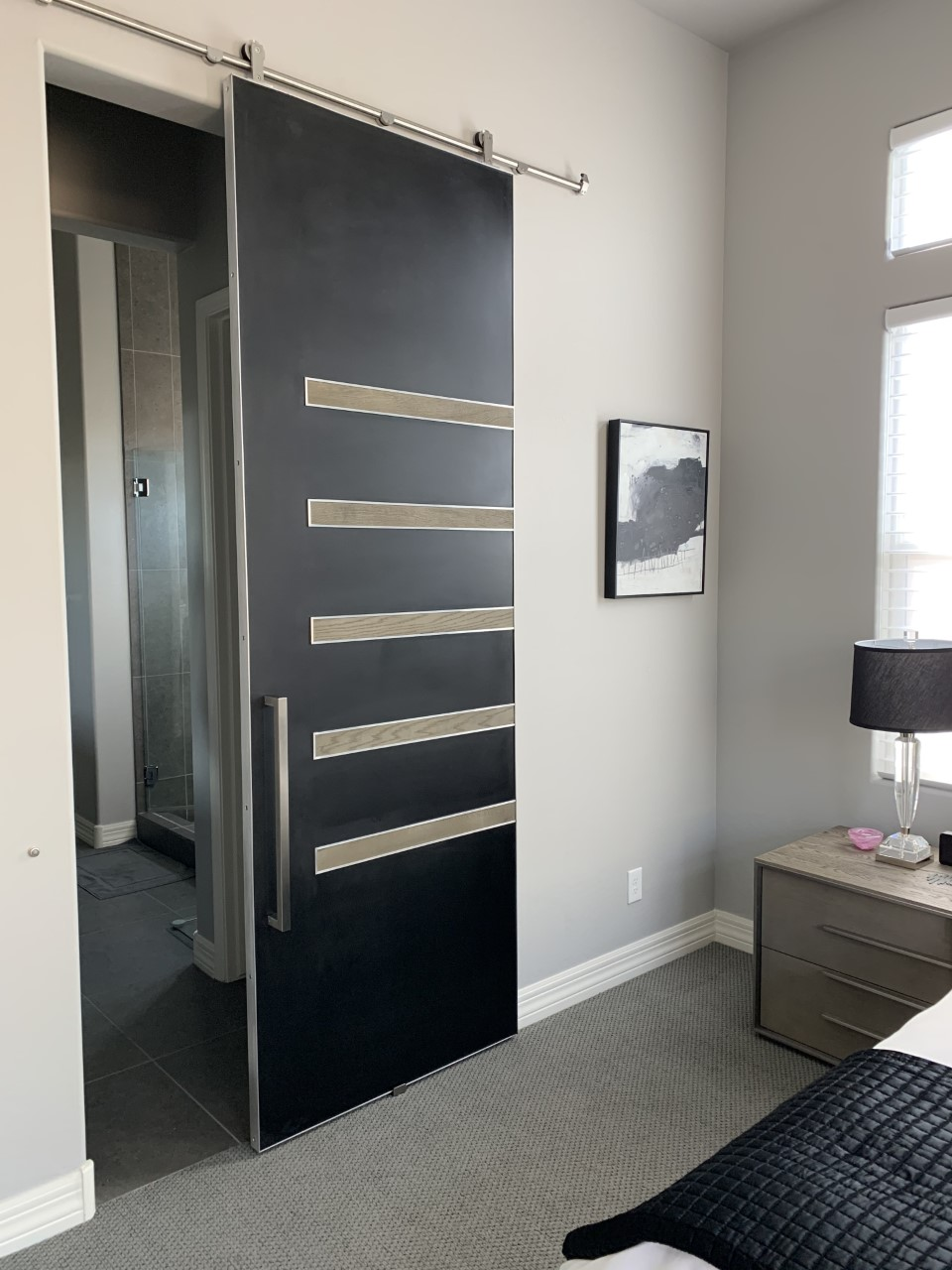 Contemporary metal panel door with wood pieces and metal edge frame