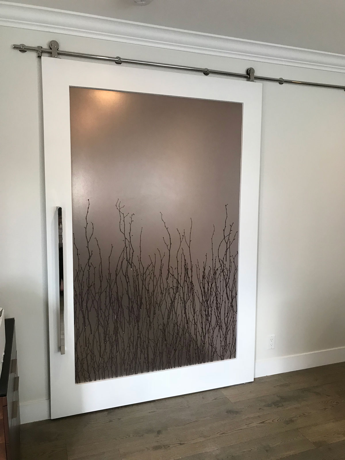 3 form birch panel with white painted frame