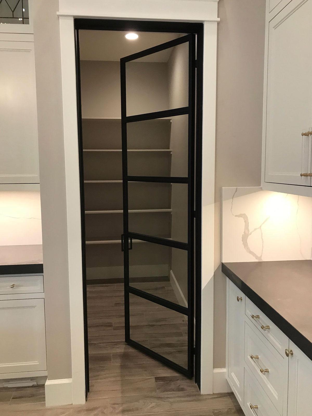 metal and glass pantry door