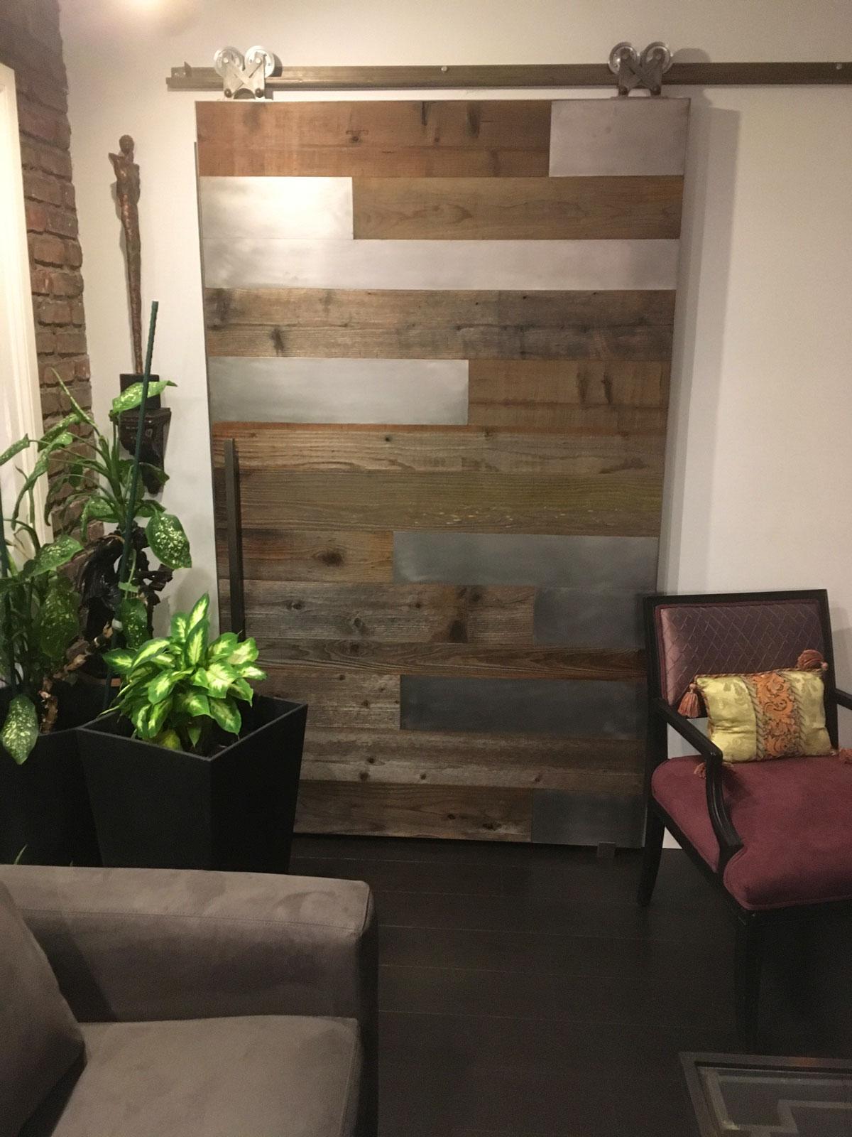 Reclaimed wood and metal barn door