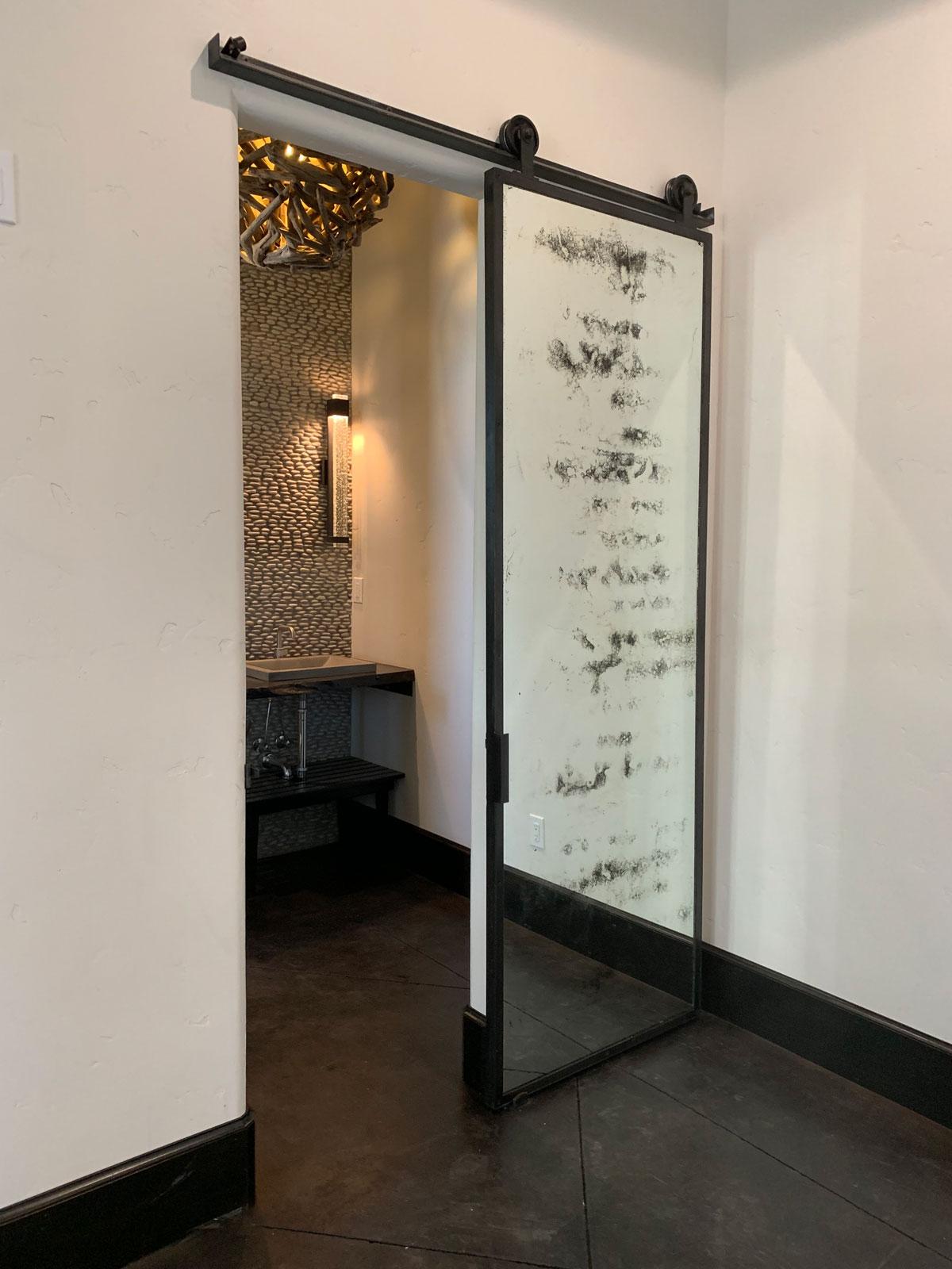 antique mirror barn door