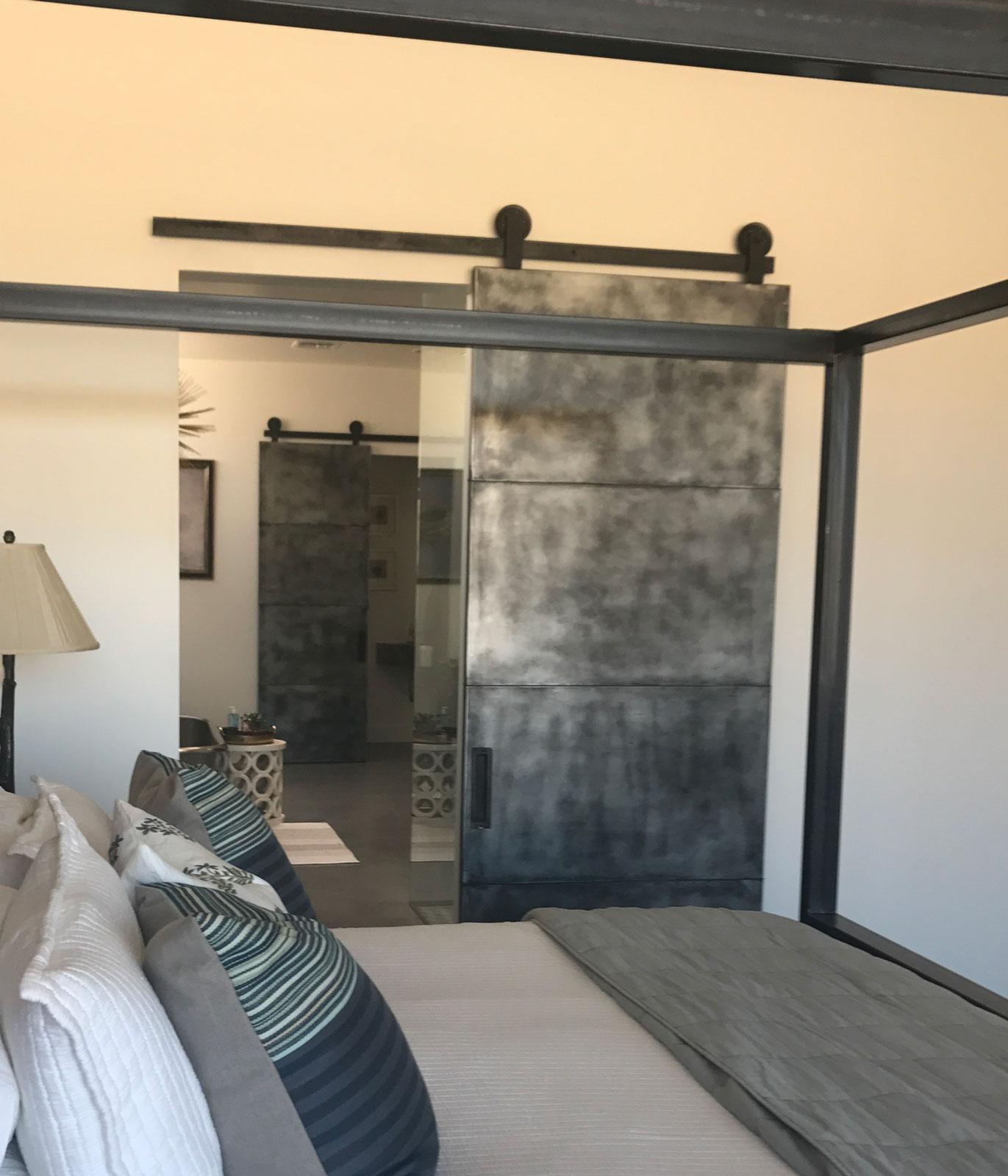 patina zinc barn door and custom hardware