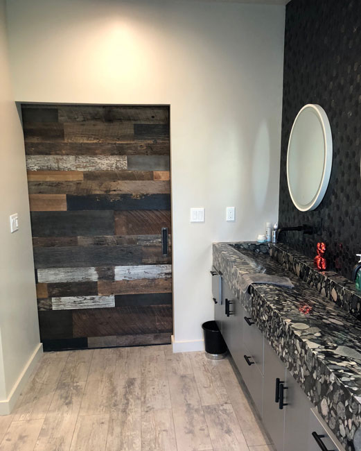powder room reclaimed wood barn door