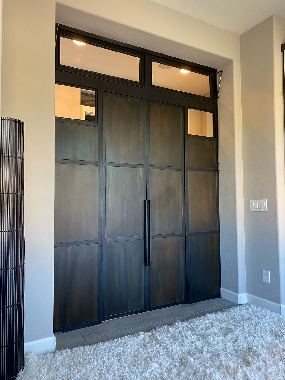 home office patina metal doors with transoms that open