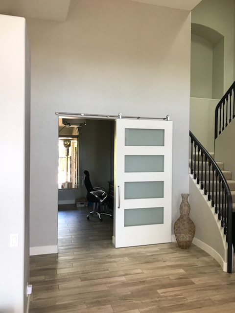 shaker painted wood and frosted glass barn door