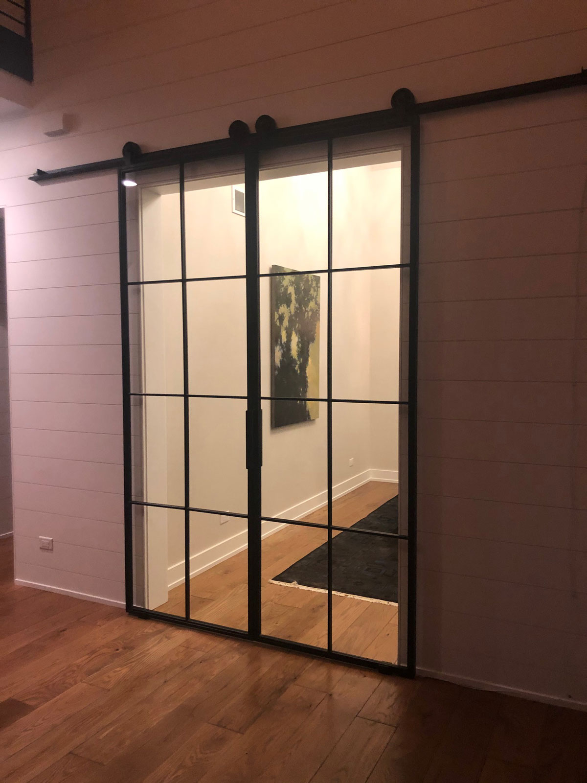 Double steel and clear glass barn doors