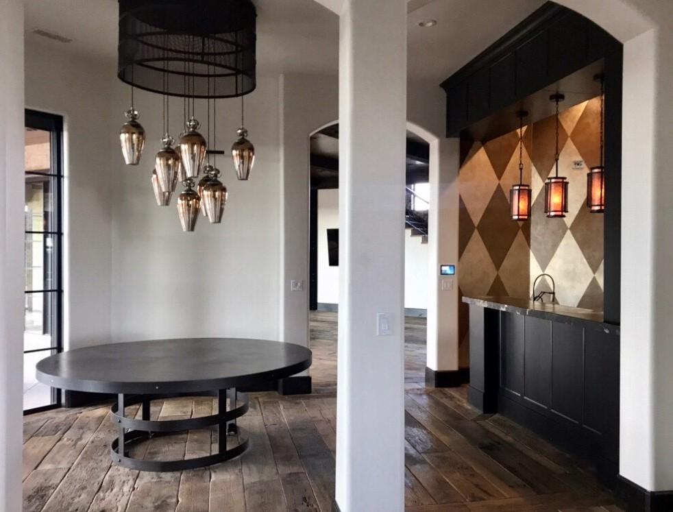 mahogany table with metal base