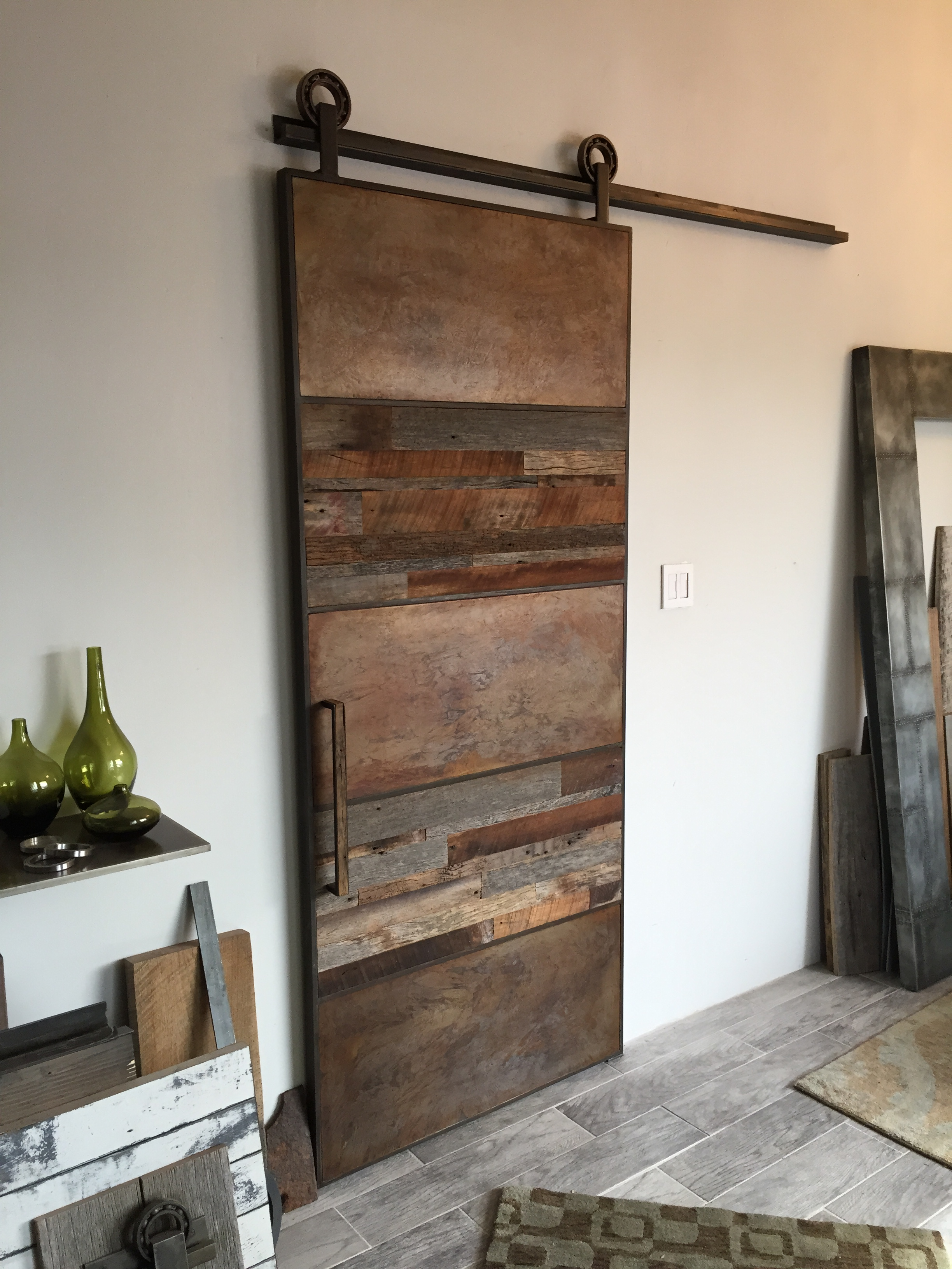 Reclaimed wood and metal barn door