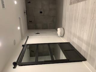 master closet mirror and metal barn door