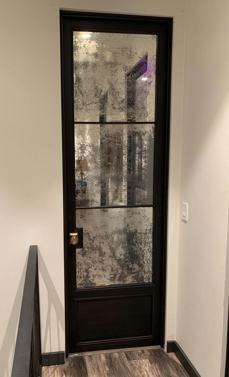 hinged antique door with toe kick