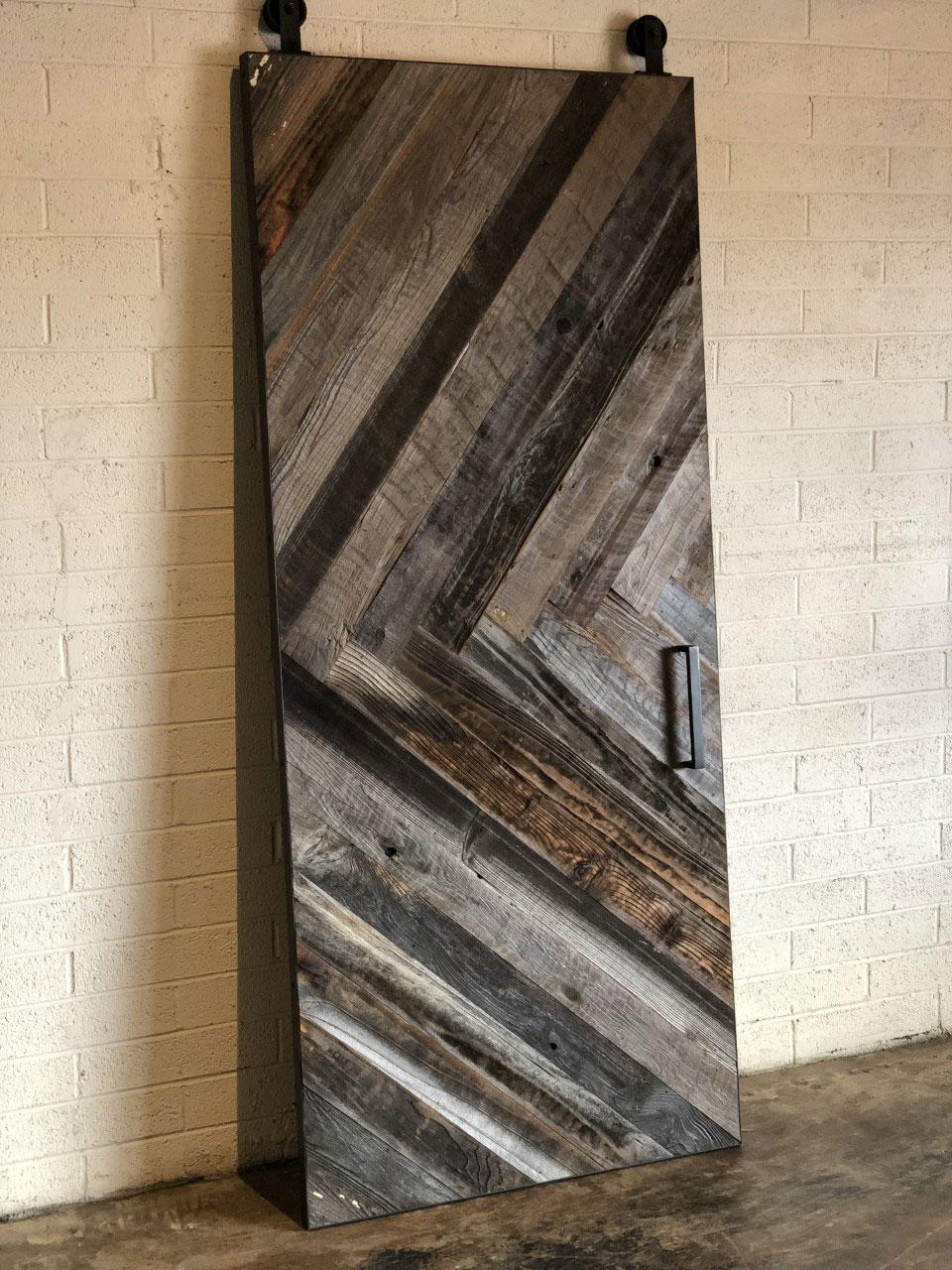chevron pattern reclaimed barn wood barn door