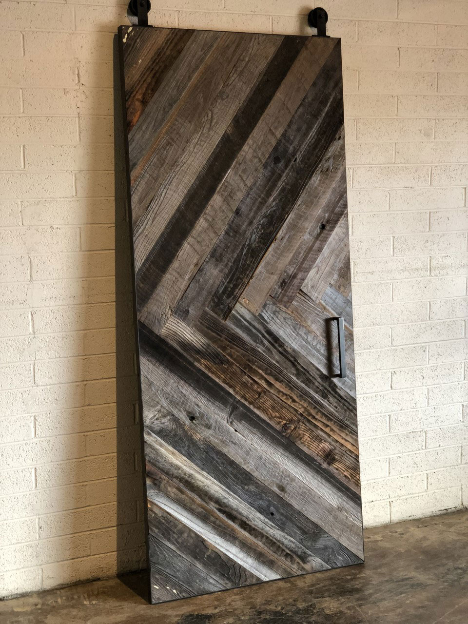 chevron pattern reclaimed barn wood barn door