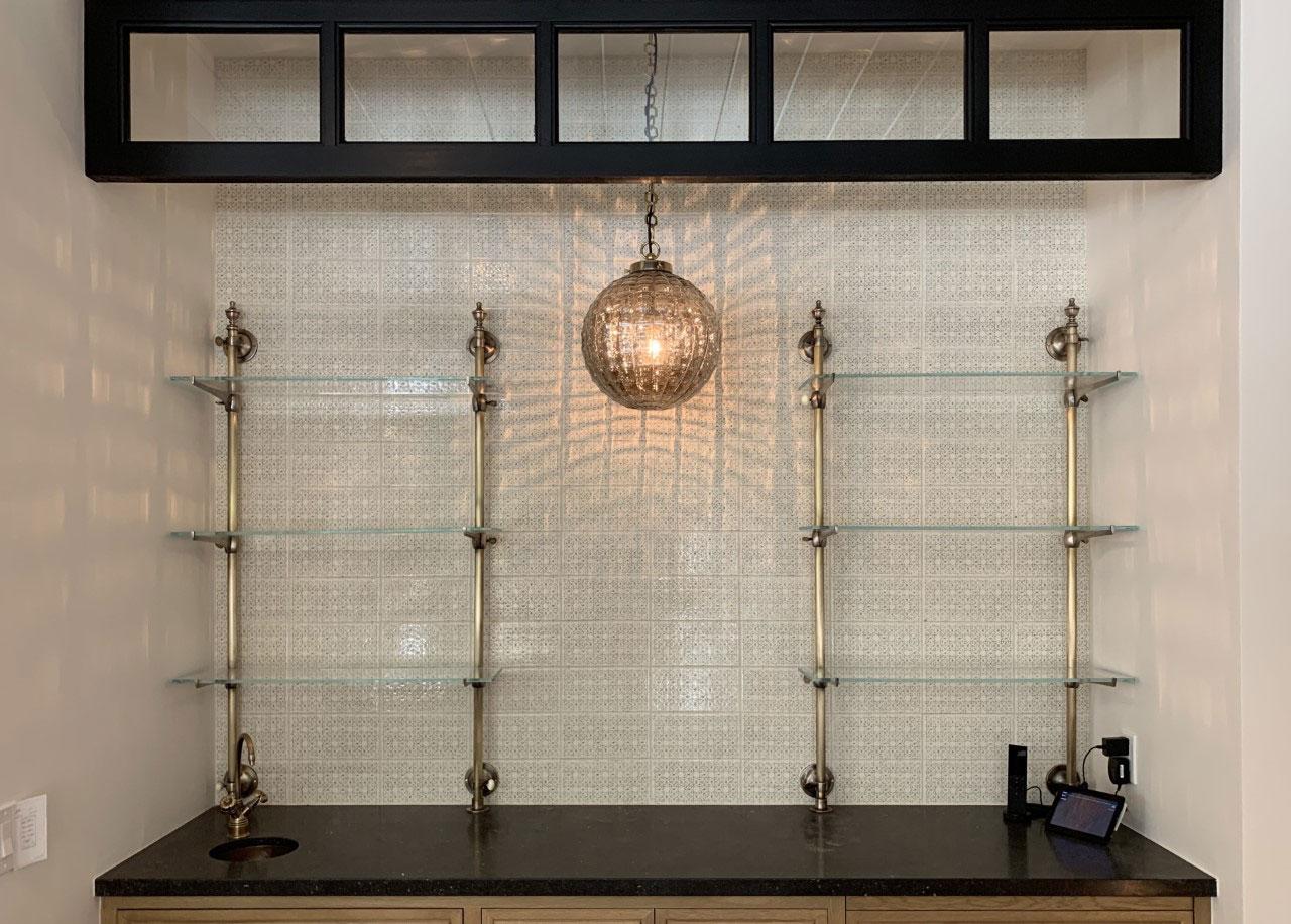 bristo bar brass and glass shelves