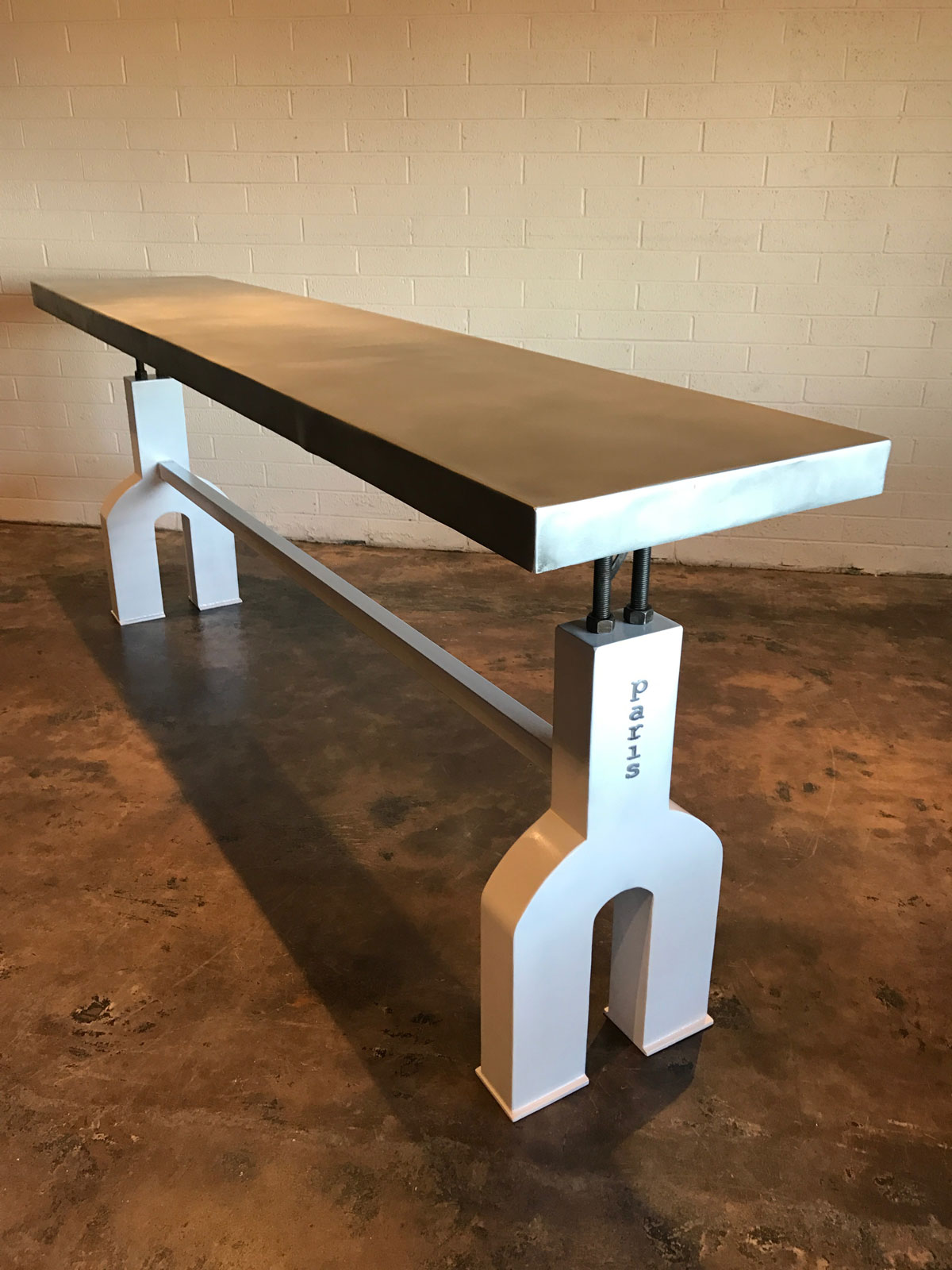 zinc and iron bar table