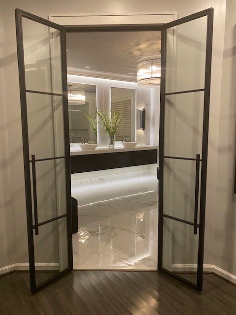 contemporary hinged metal and glass doors