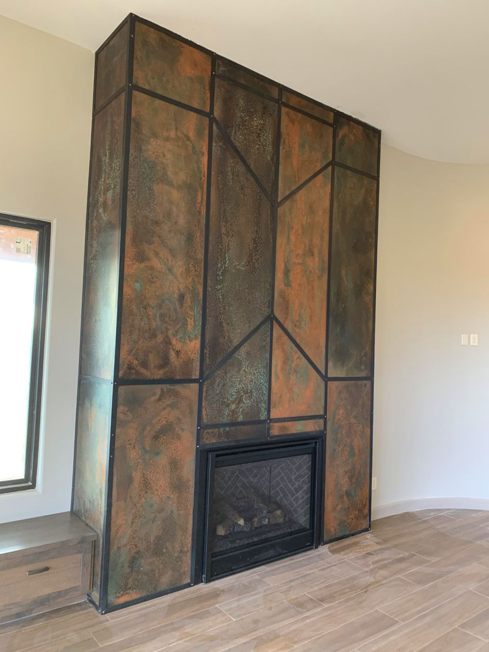 copper fireplace with hot rolled steel